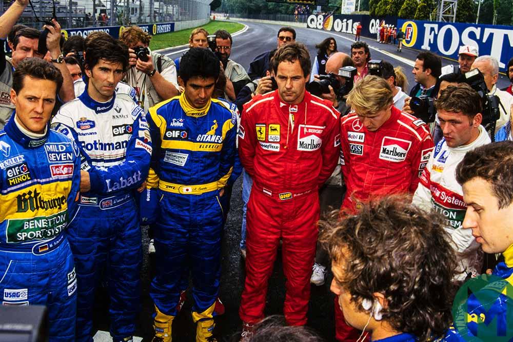Formula 1 drivers gather to remember Ayrton Senna at the 1995 San Marino Grand Prix at Imola