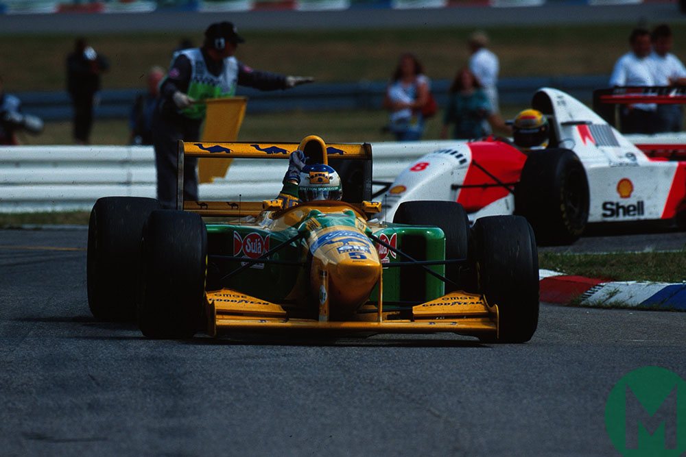 Schumacher's Benetton leads Ayrton Senna's McLaren at 1993 German Grand Prix