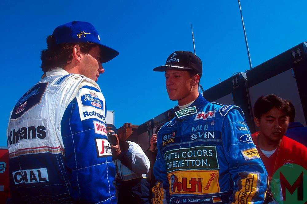Senna and Schumacher talk during the 1994 San Marino Grand Prix