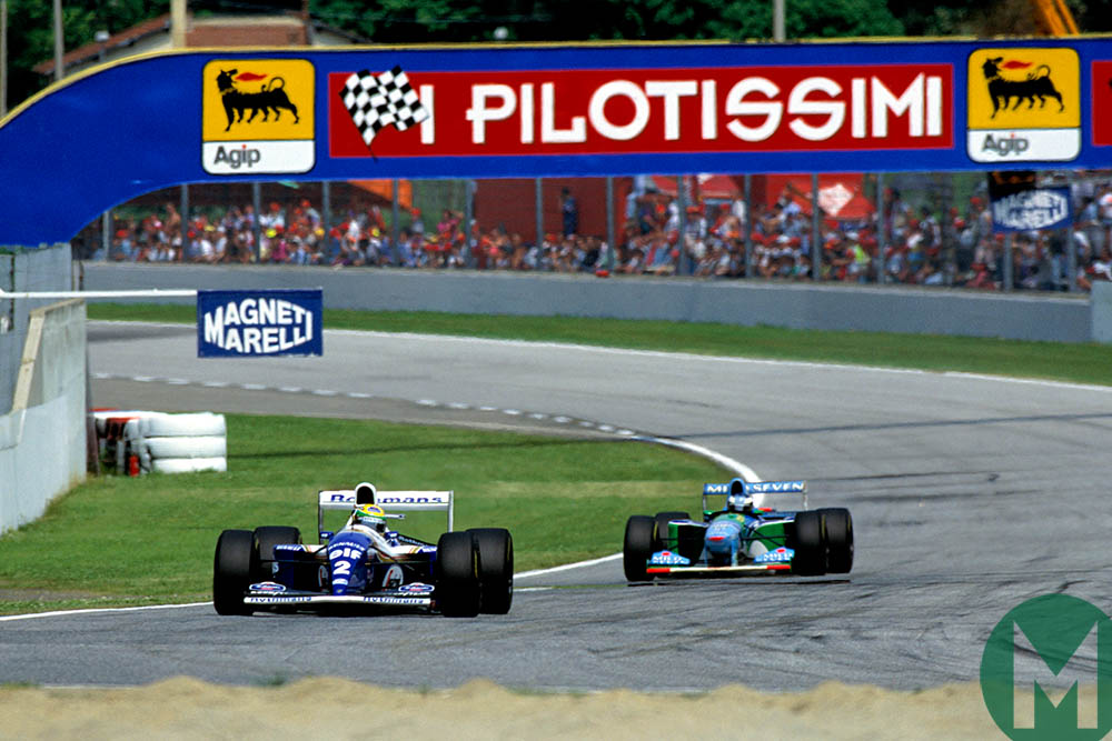 Senna leads Schumacher during the 1994 San Marino Grand Prix