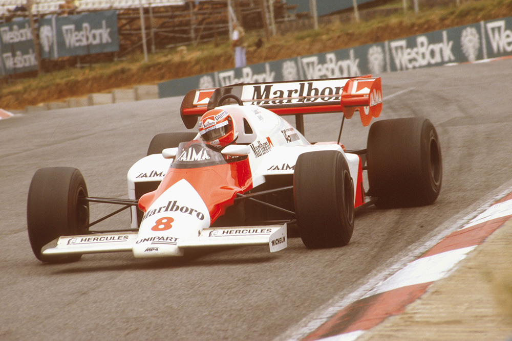 Niki Lauda in a McLaren MP42 TAG Porsche, went on to take 1st place.