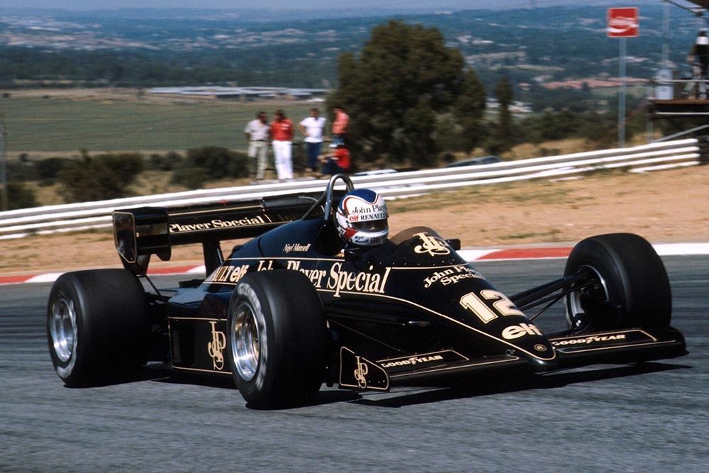 Nigel Mansell at the wheel of his Lotus 95T