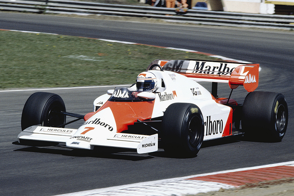 Alain Prost at the wheel of a McLaren MP4/2 TAG Porsche.
