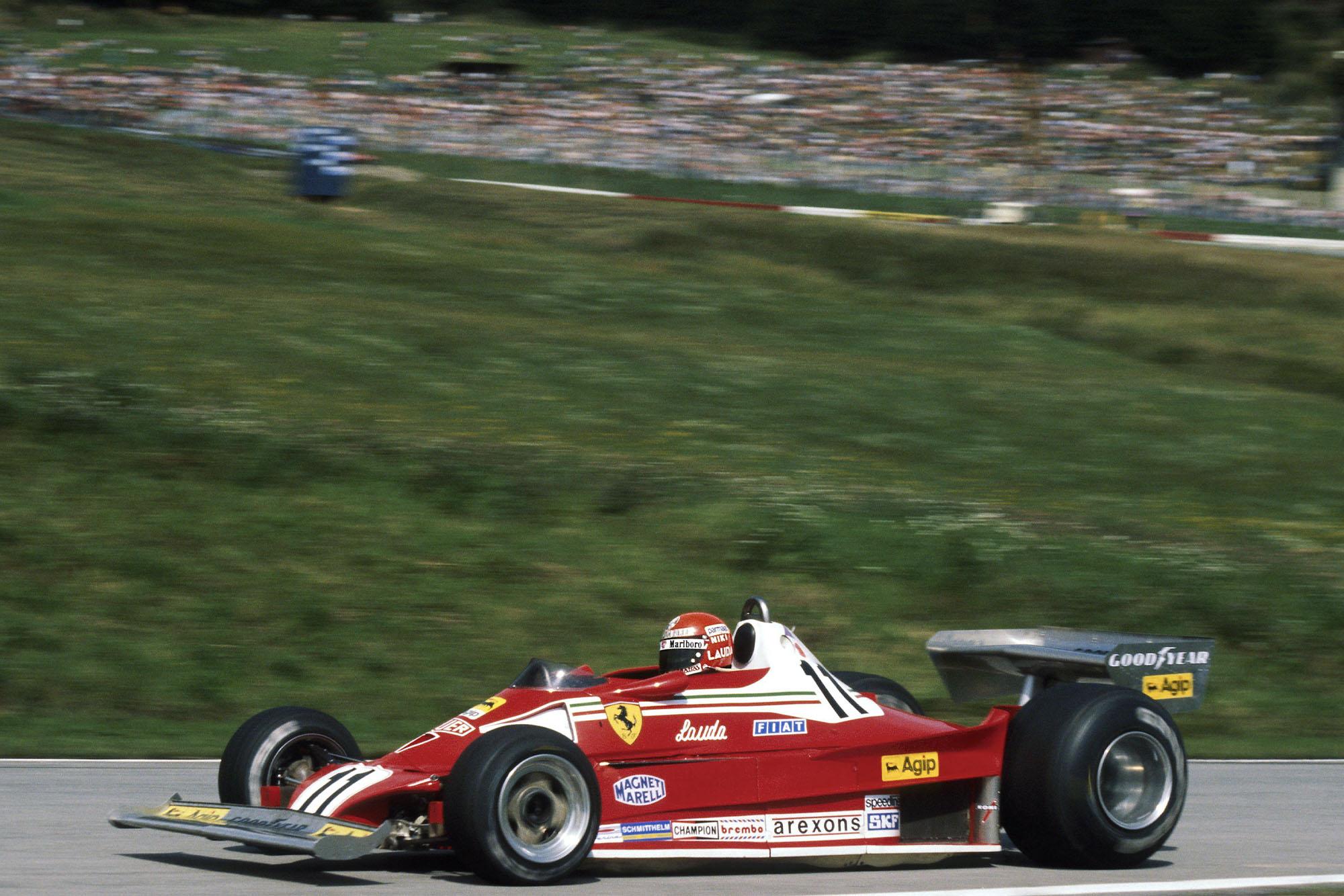 Niki Lauda (Ferrari) at the 1977 Austrian Grand Prix, Österreichring.