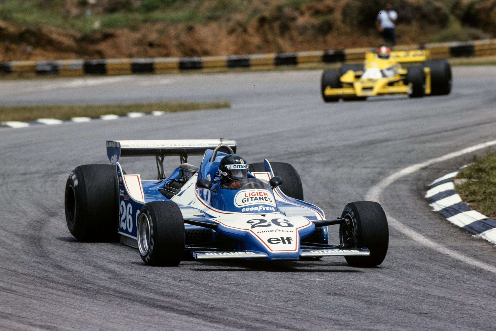 Jacques Laffite (Ligier) competing at the 1979 Brazilian Grand Prix, Interlagos.