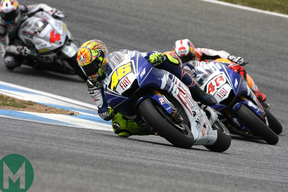 Valentino Rossi racing at 2008 Portuguese MotoGP Estoril