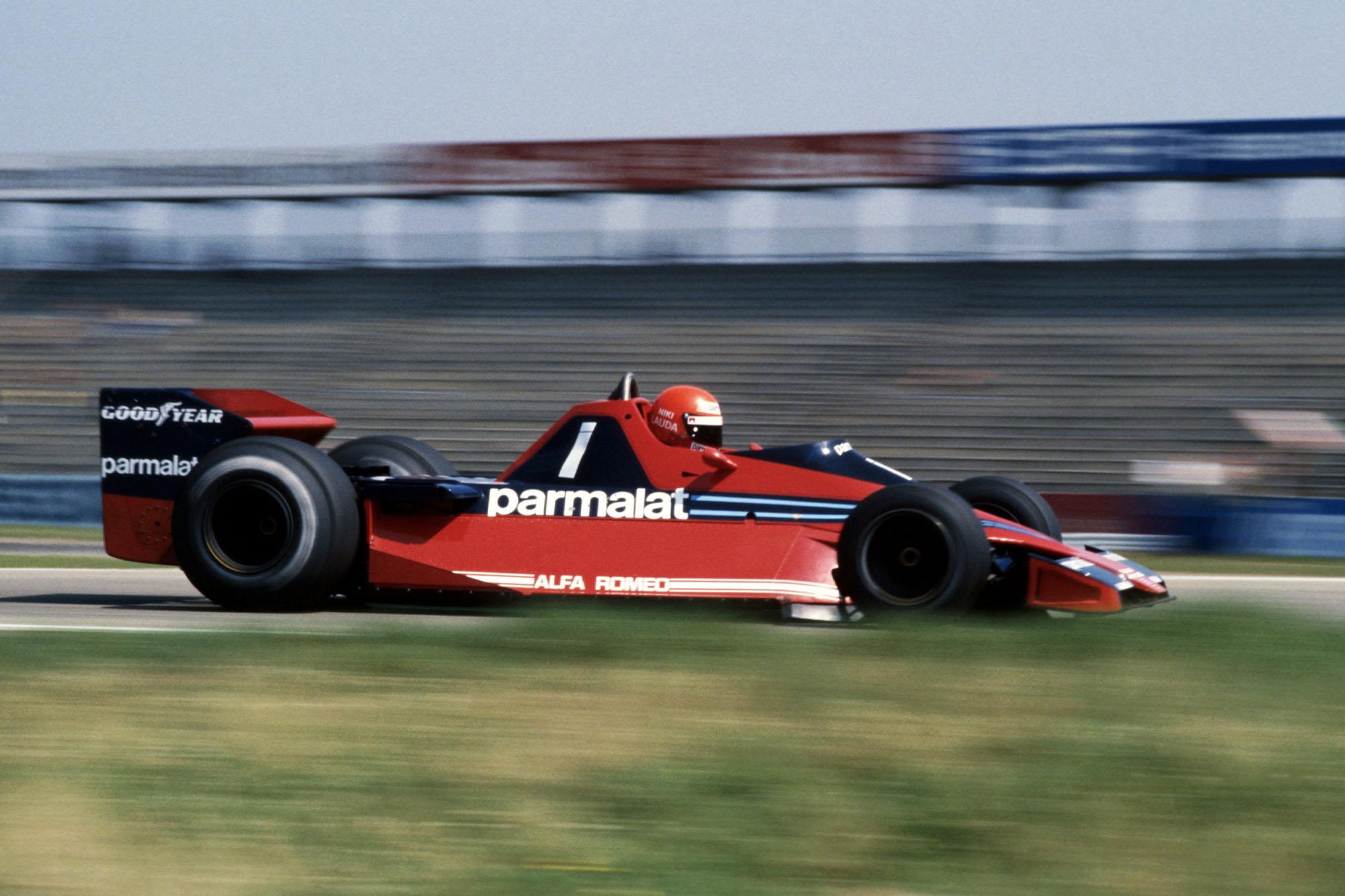 Niki Lauda (Brabham) driving at the 1978 German Grand Prix, Hockenheim.