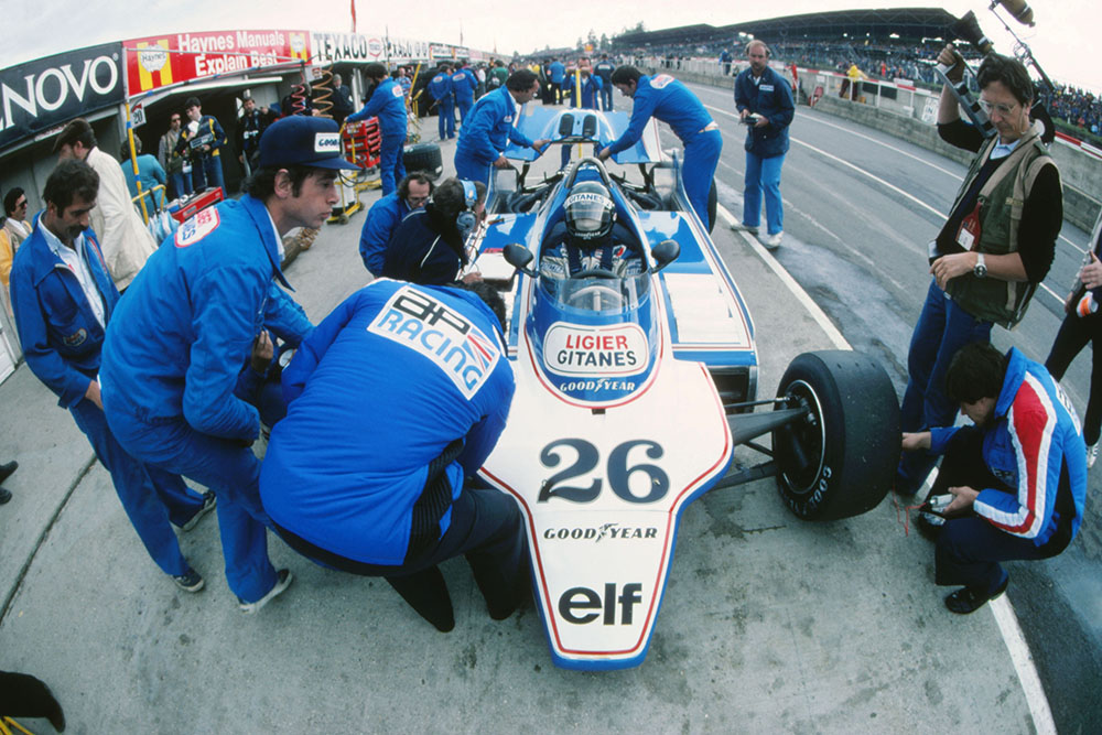Jacques Laffite in a Ligier JS11/15 in the pits.
