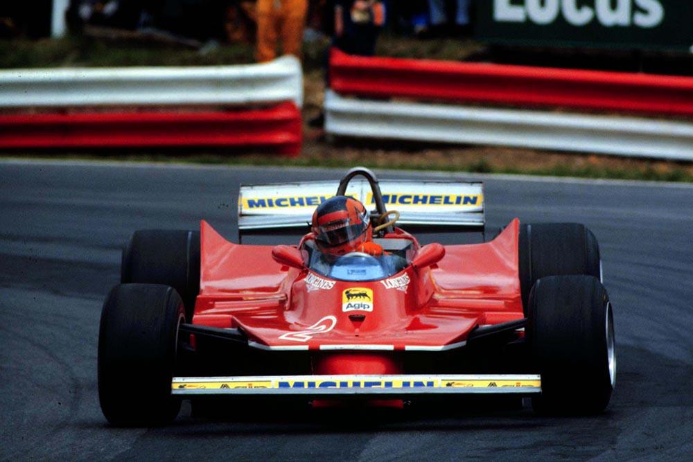Gilles VIlleneuve competes at Brands Hatch