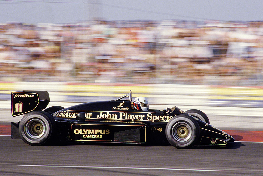 Elio de Angelis driving his Lotus 97T Renault.