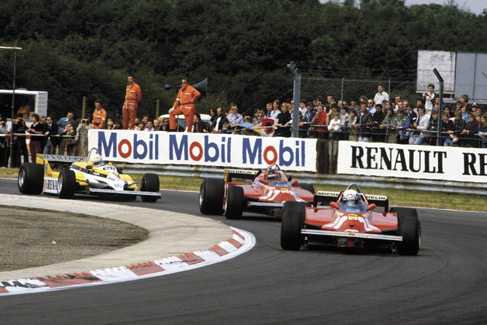 Didier Pironi leads team mate Gilles Villeneuve (both Ferrari 126CK).