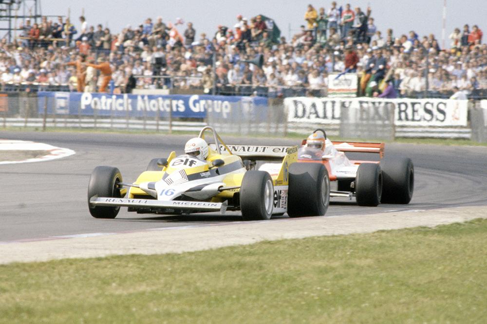 Rene Arnoux (Renault RE30) leads John Watson (McLaren MP4/1-Ford Cosworth).