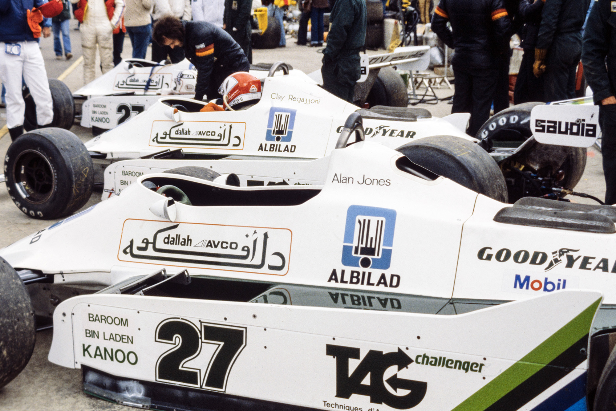 Williams FW07s in the pits at the 1979 US Grand Prix