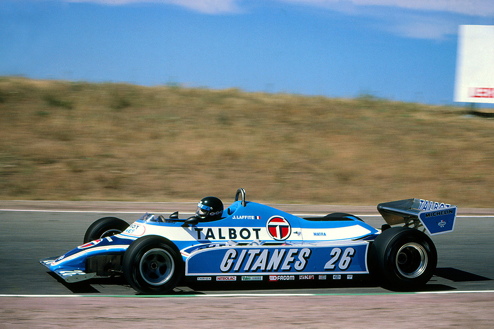 Jacques Laffite in his, Ligier JS17 who finished second.