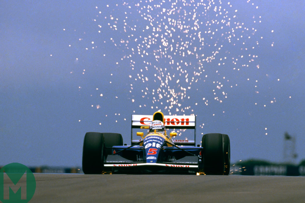 Nigel Mansell on the way to victory at the 1991 British Grand Prix