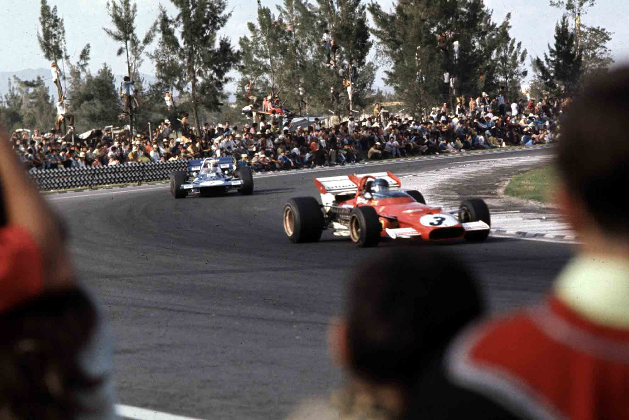 Jacky Ickx is chased by Jackie Stewart at the Mexican Grand Prix, Mexico City, 23-25 Oct 70