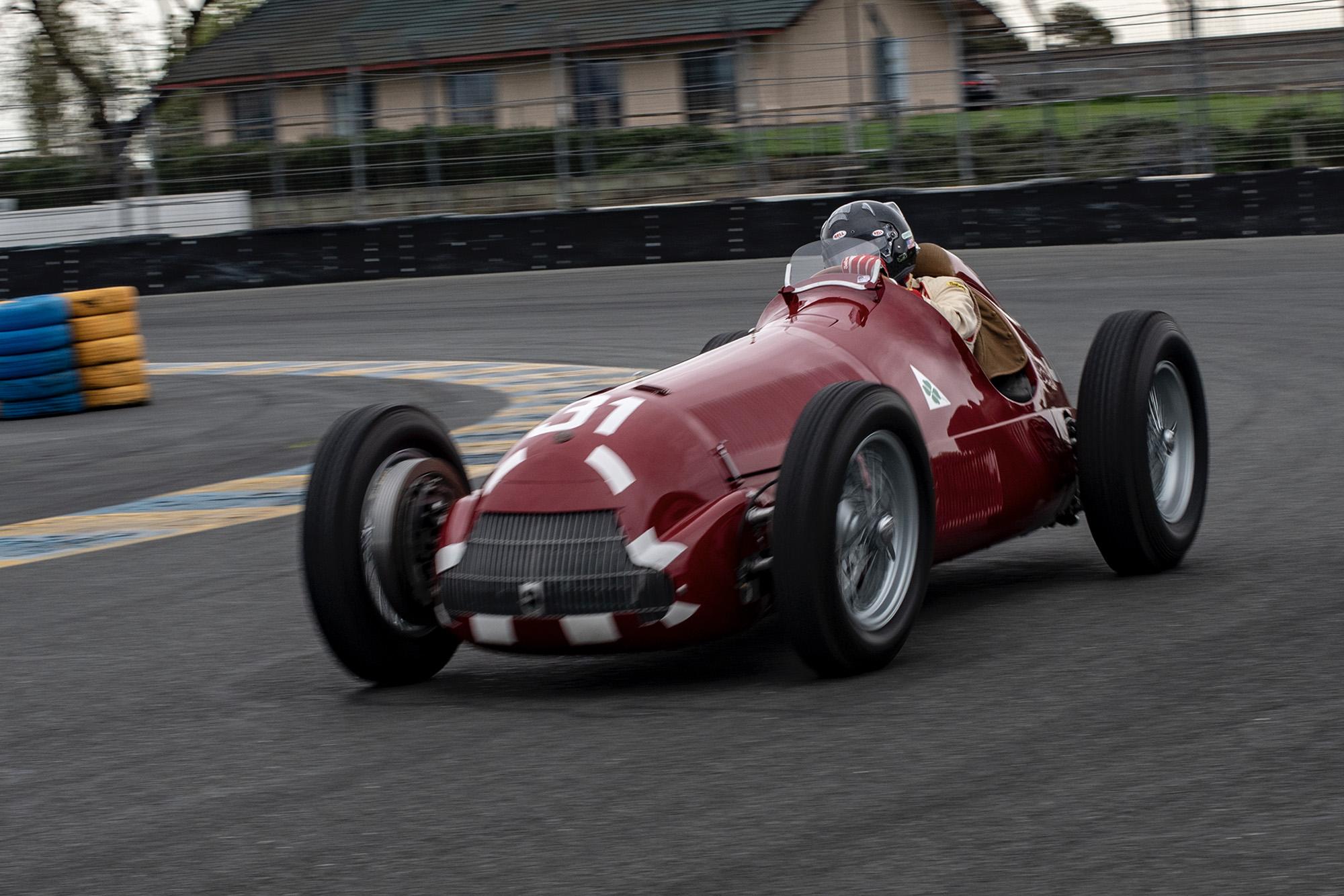 Restored Alfa 158 testing at Sonoma in April 2019