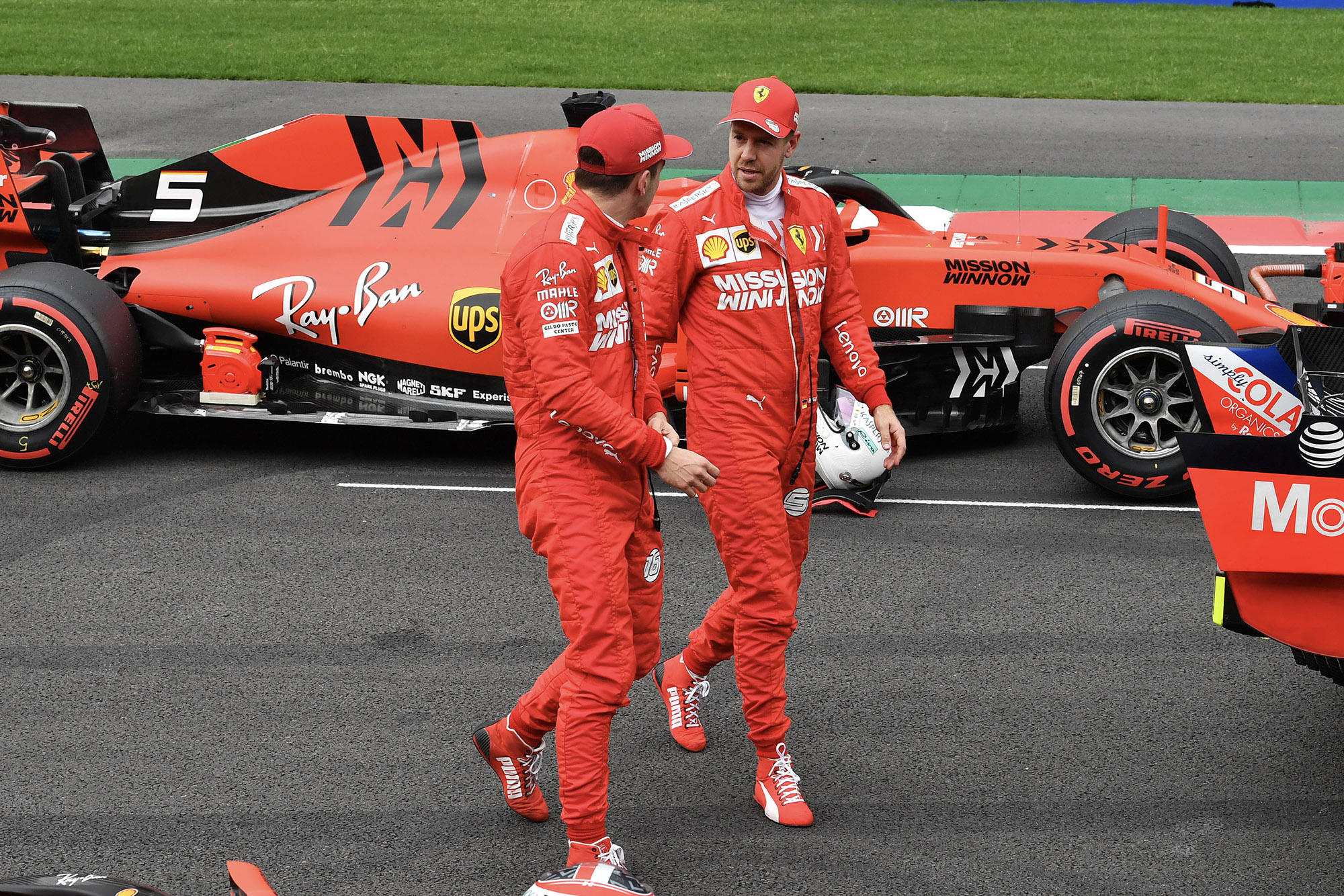 Sebastian Vettel and Charles Leclerc talk after qualifying for the 2019 F1 Mexican Grand Prix
