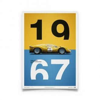 Product image for Ferrari 412P Yellow Spa Francorchamps 1967 Poster