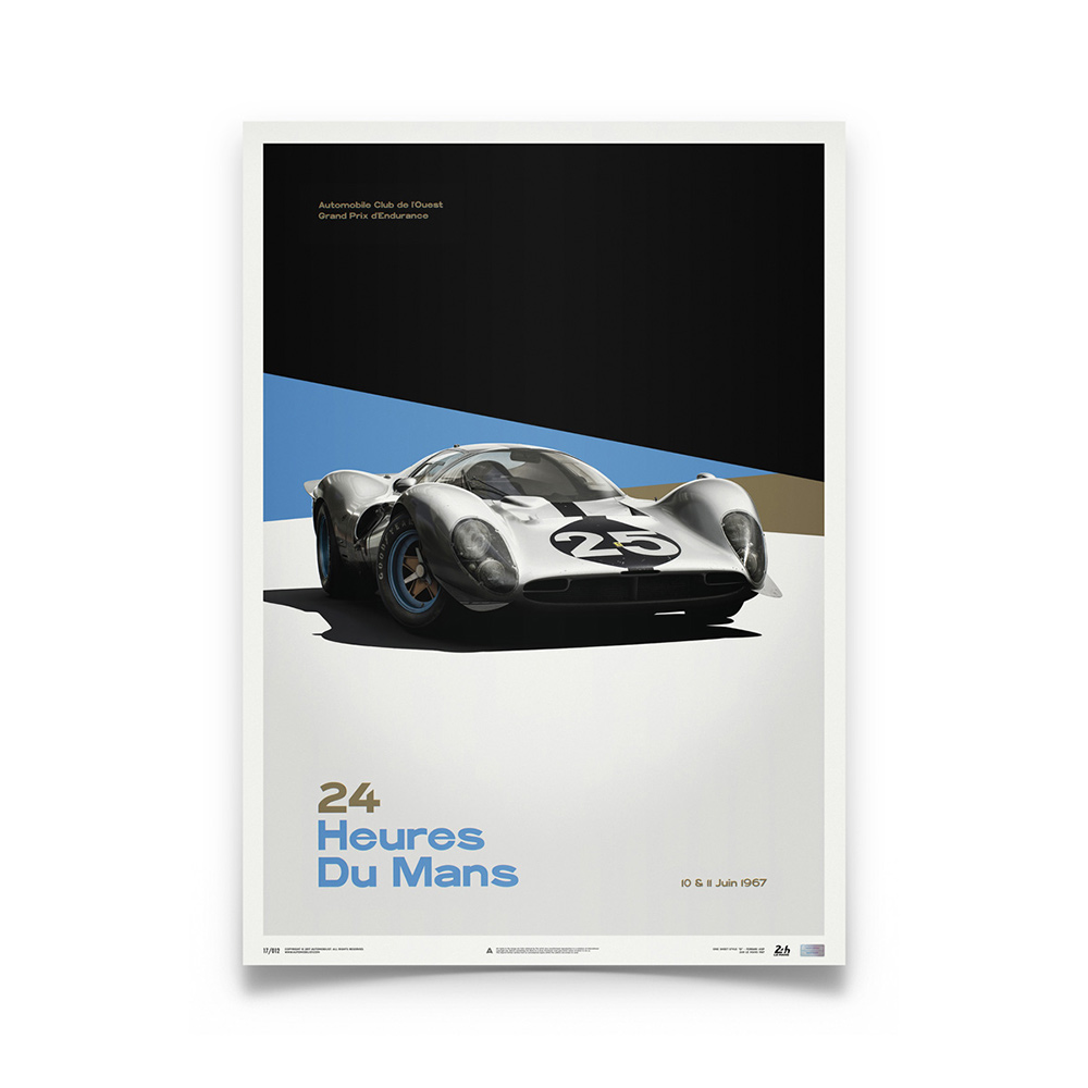 Product image for Ferrari 412P White 24 hours of Le Mans 1967: Limited Poster