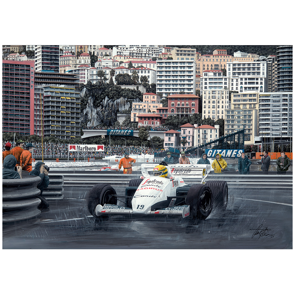 Product image for Ayrton Senna 1984 Monaco Grand Prix Giclee Print