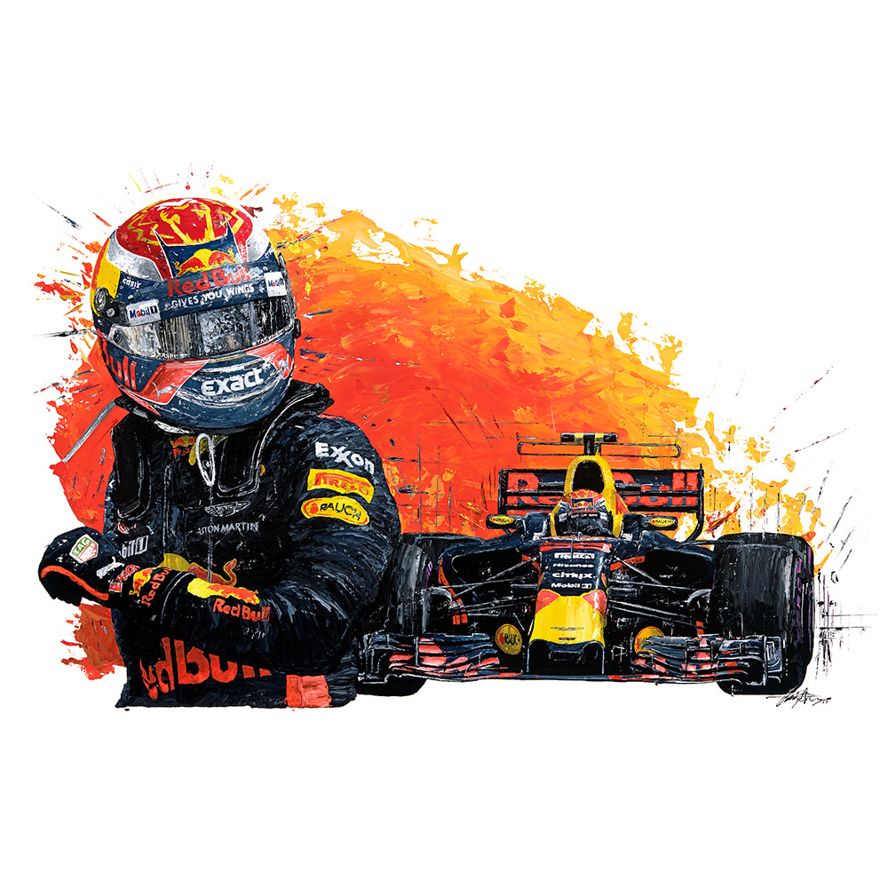 Product image for Max Verstappen -2017 Red Bull Racing Print