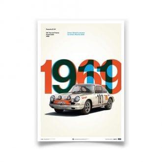 Product image for Porsche 911R White Tour de France 1969 Poster