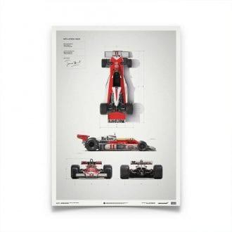 Product image for McLaren M23 James Hunt Blueprint Japanese GP Poster