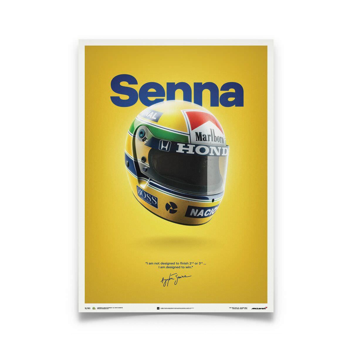 Product image for Ayrton Senna Helmet San Marino GP 1988 Poster