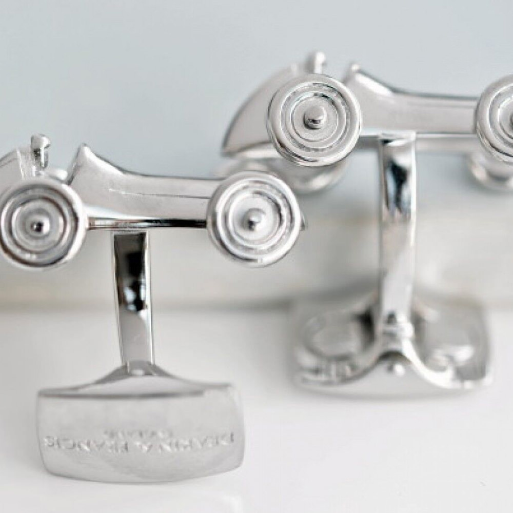 Product image for Rhodium Vintage Racing Car Cufflinks