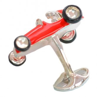Product image for Solid Silver Red Racing Car Cufflinks