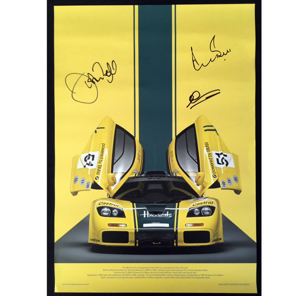 Product image for McLaren F1GTR 'Harrods' 1995 Le Mans, reunion poster: Signed by Derek Bell & Andy Wallace