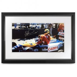 Product image for 1991 British Grand Prix 'taxi for Senna' photograph: Signed by Nigel Mansell