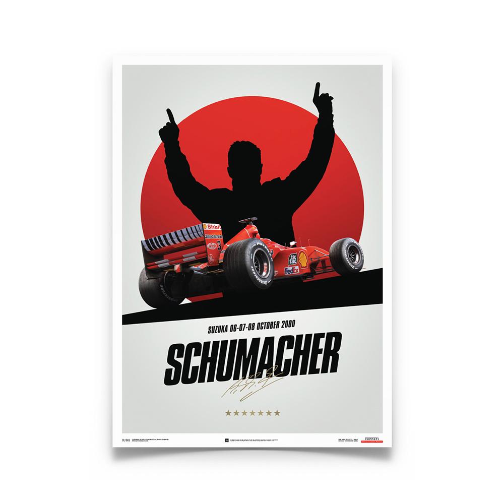 Product image for Ferrari F1-2000 Michael Schumacher Germany Suzuka GP Poster