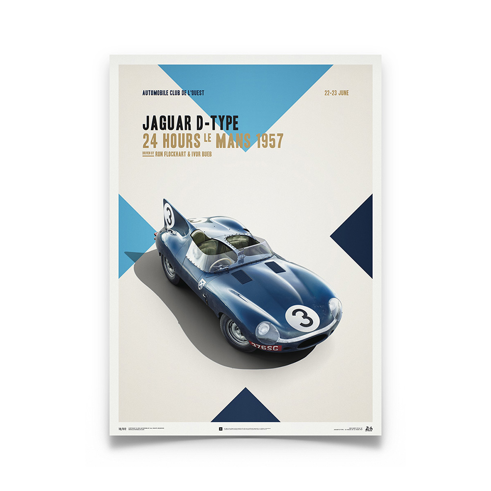 Product image for Jaguar D Type Blue 24h Le Mans 1957 Poster