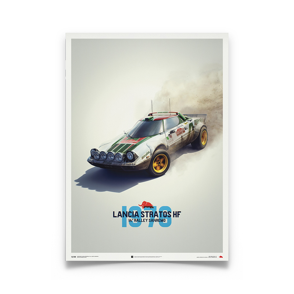 Product image for Lancia Stratos HF White Alitalia Sanremo 1974 Poster
