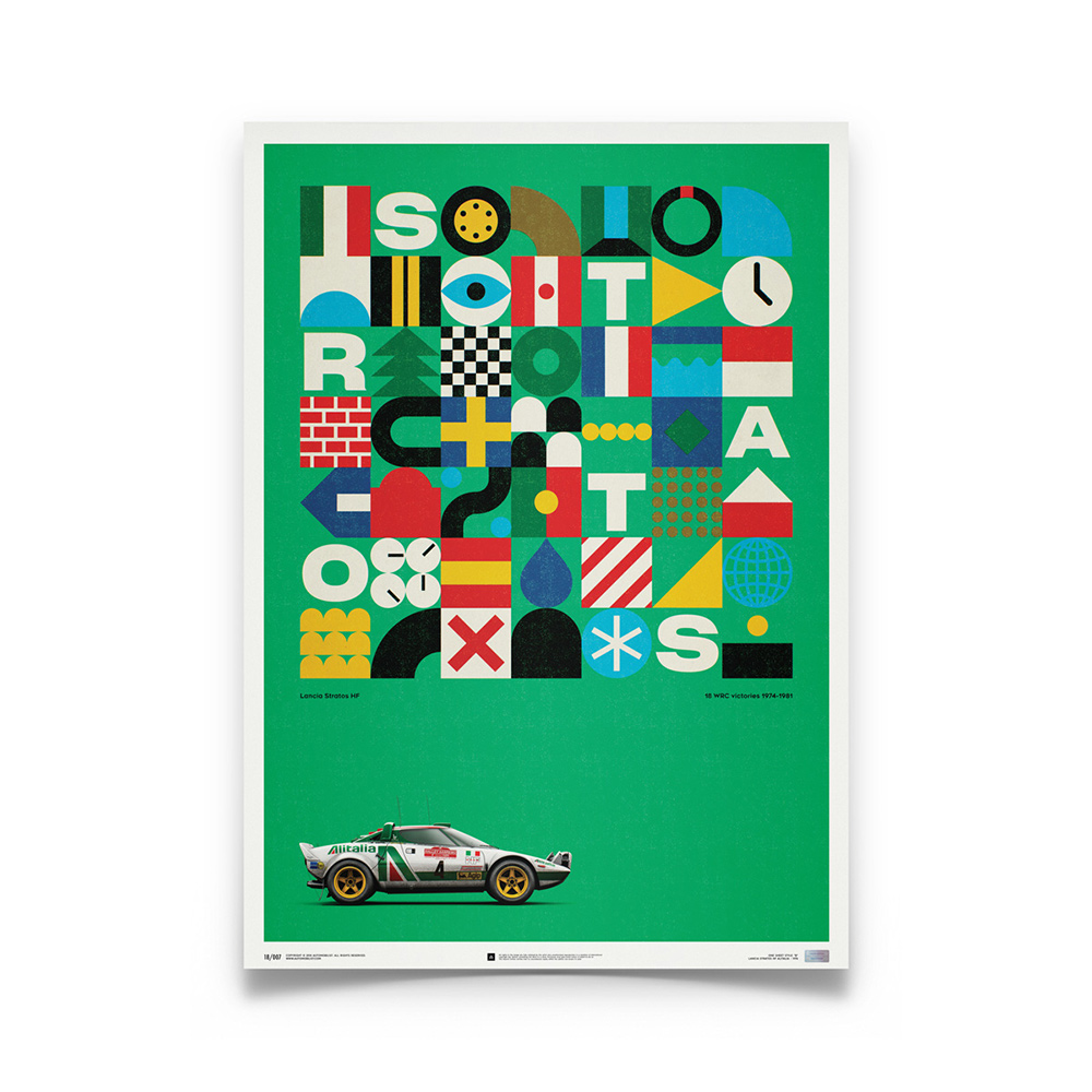 Product image for Lancia Stratos HF Green Alitalia 1974: Limited Poster