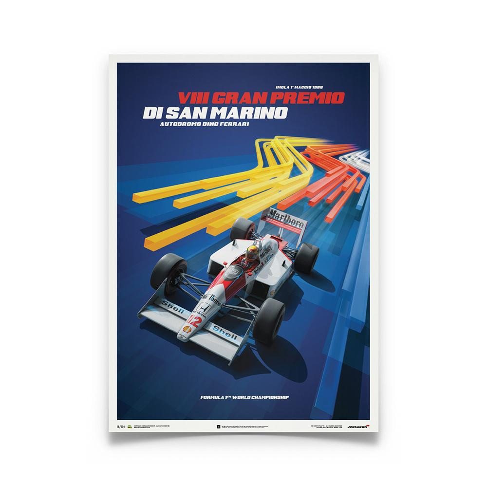 Product image for McLaren MP4/4 Ayrton Senna Blue San Marino GP 1988 Poster