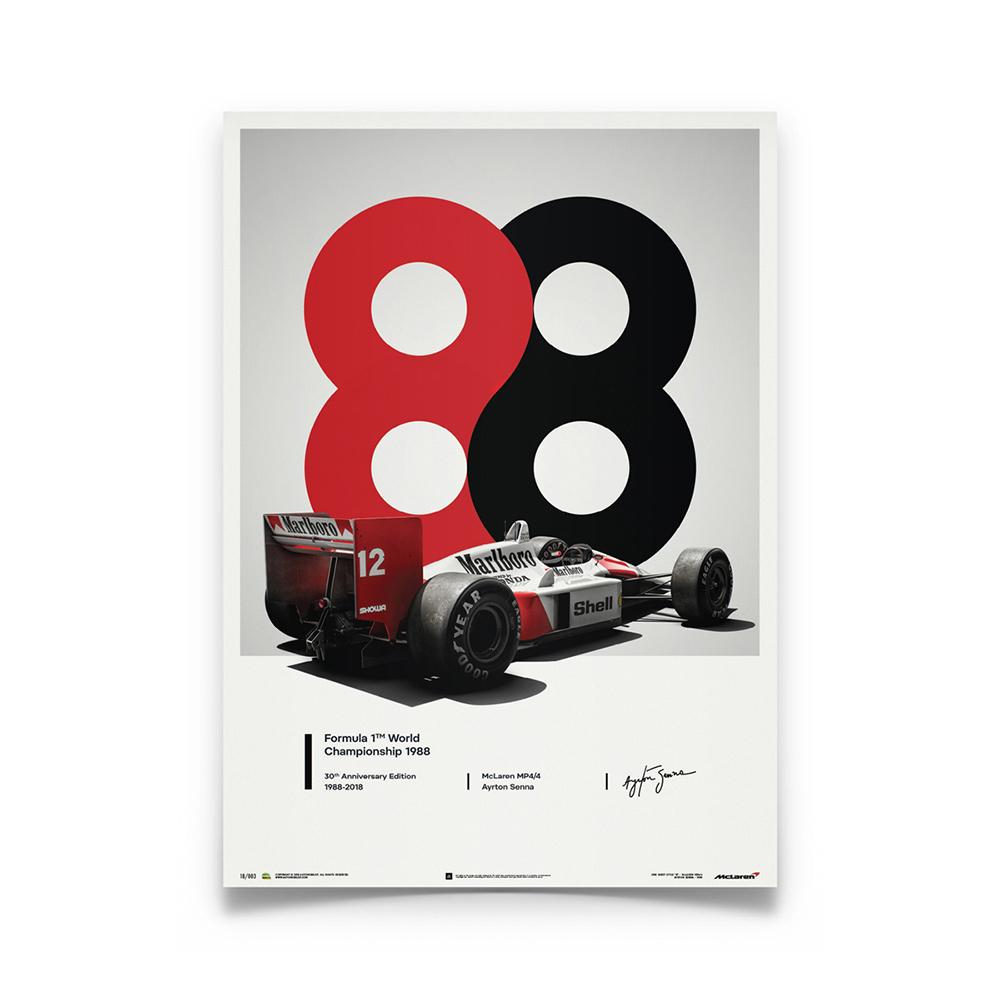 Product image for McLaren MP4/4 Ayrton Senna 1988 San Marino GP 1988 Poster