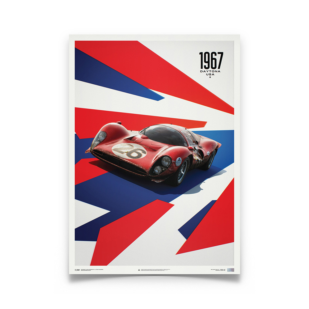 Product image for Ferrari 412P Red 24 Hours of Daytona 1967: Limited Poster