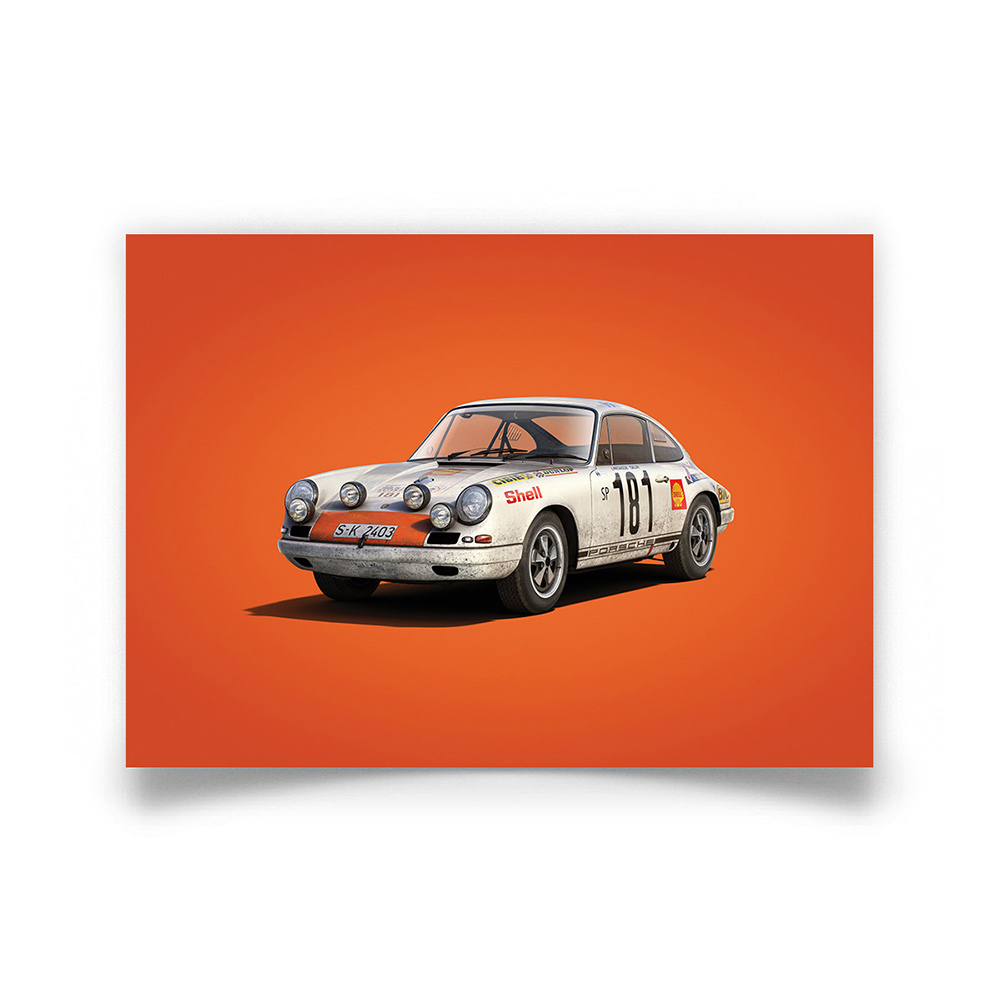Product image for Porsche 911R White Tour de France 1969 Colors of Speed Poster