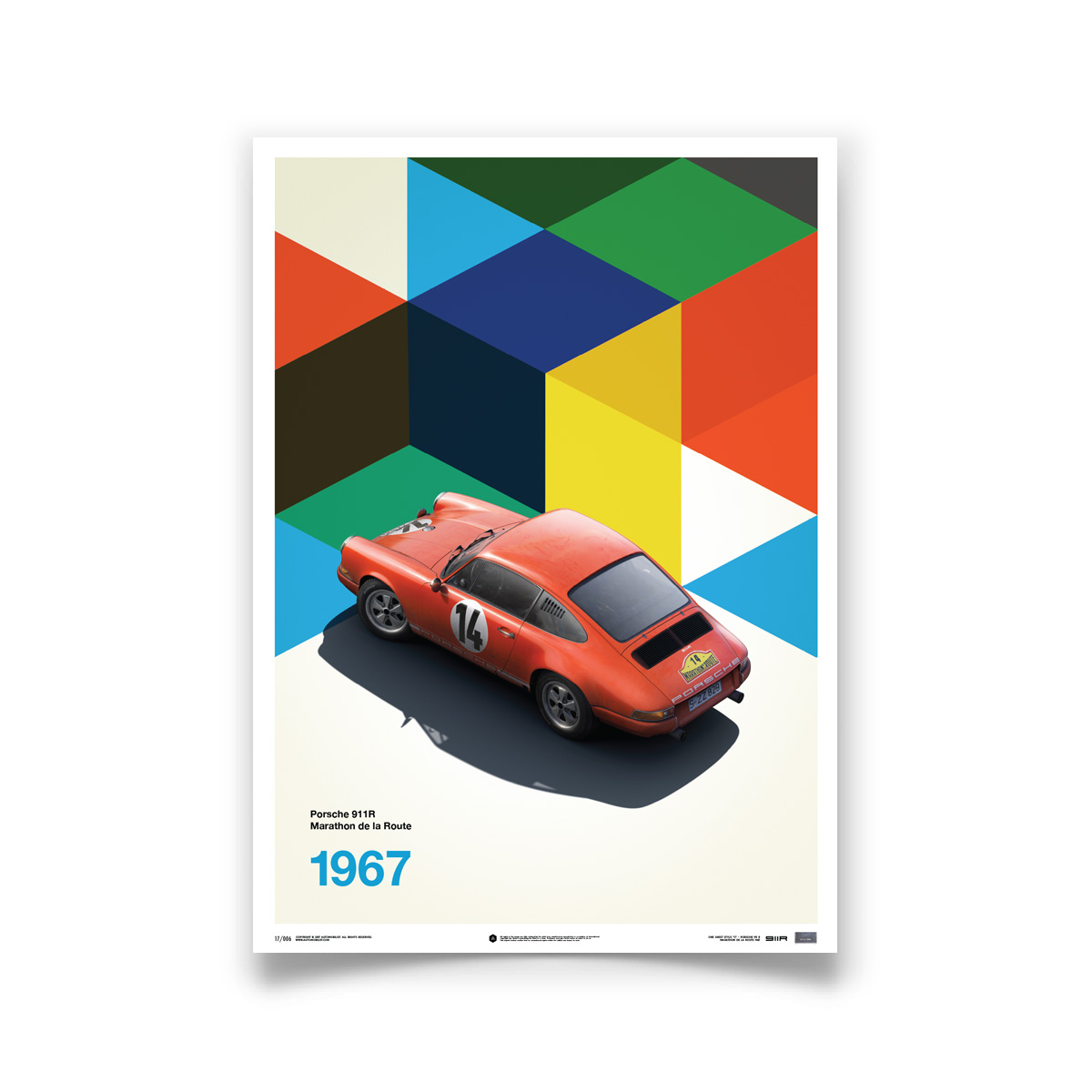 Product image for Porsche 911R Red Marathon de la Route 1967: Limited Poster