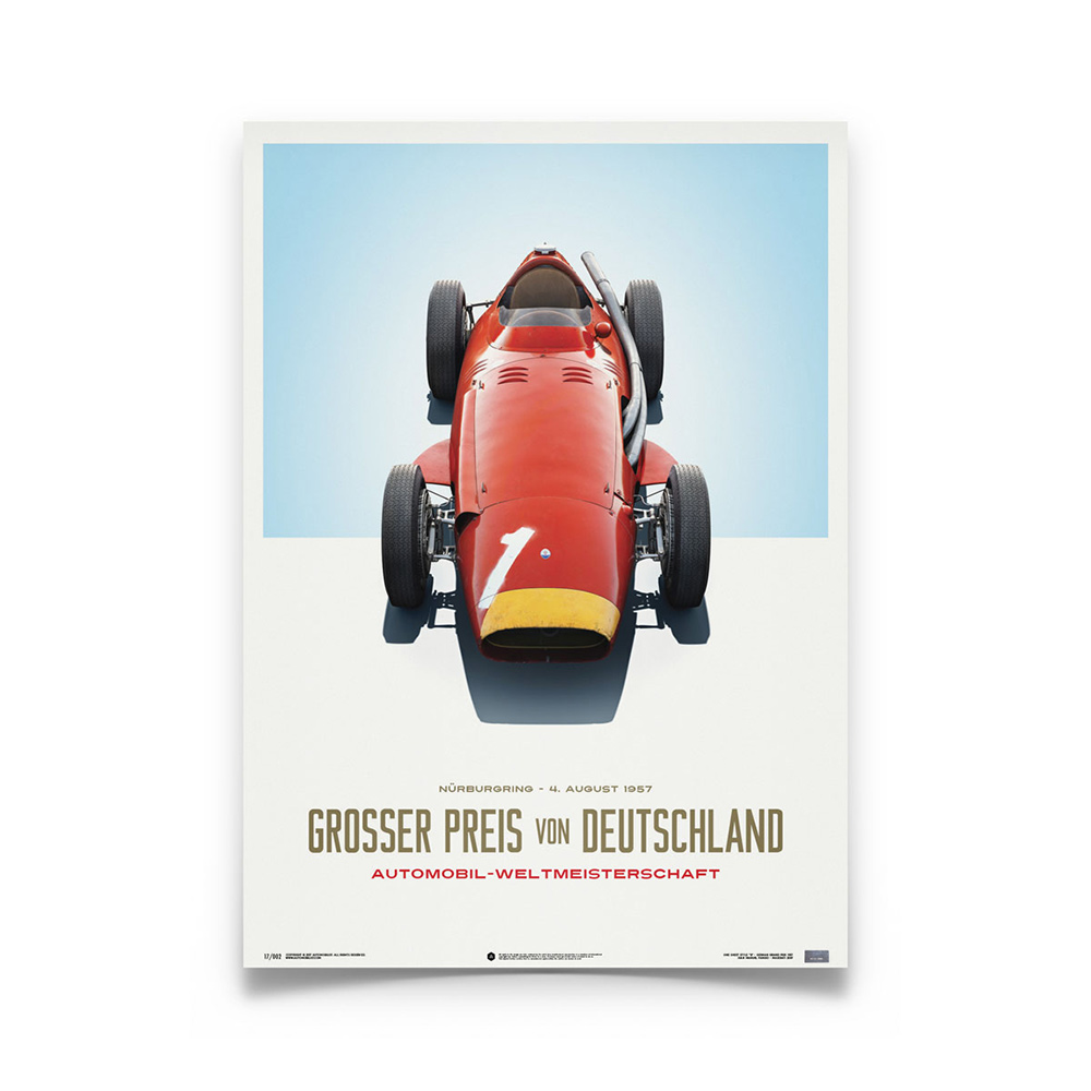 Product image for Maserati 250F Juan Manuel Fangio Red German GP: Limited Poster