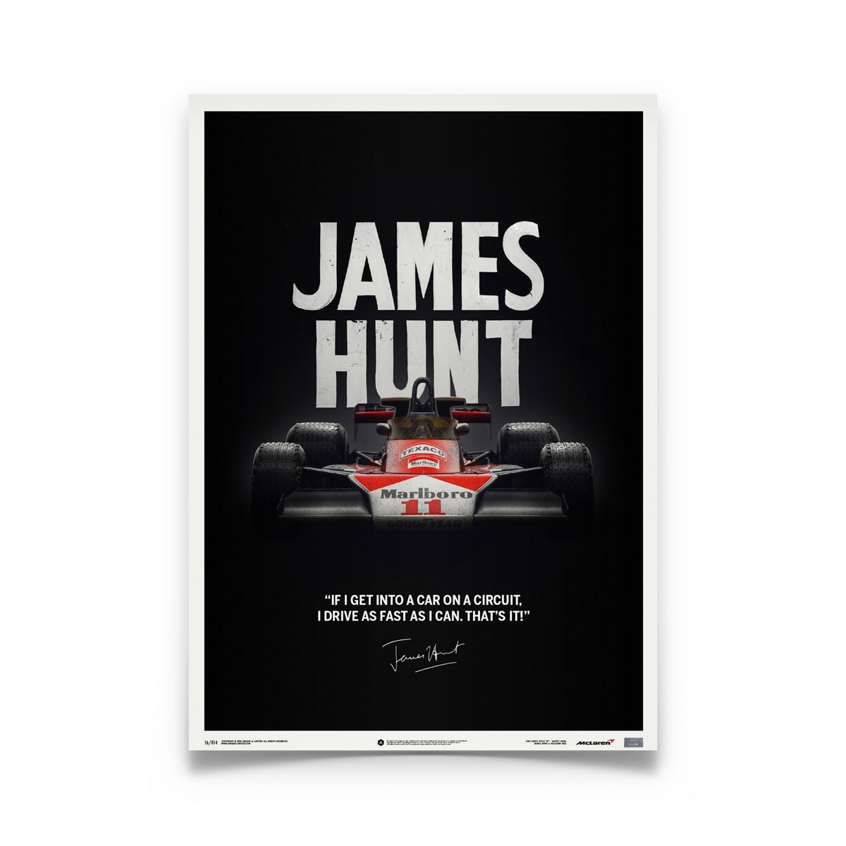 Product image for McLaren M23 James Hunt Quote Japanese GP 1976: Limited Poster