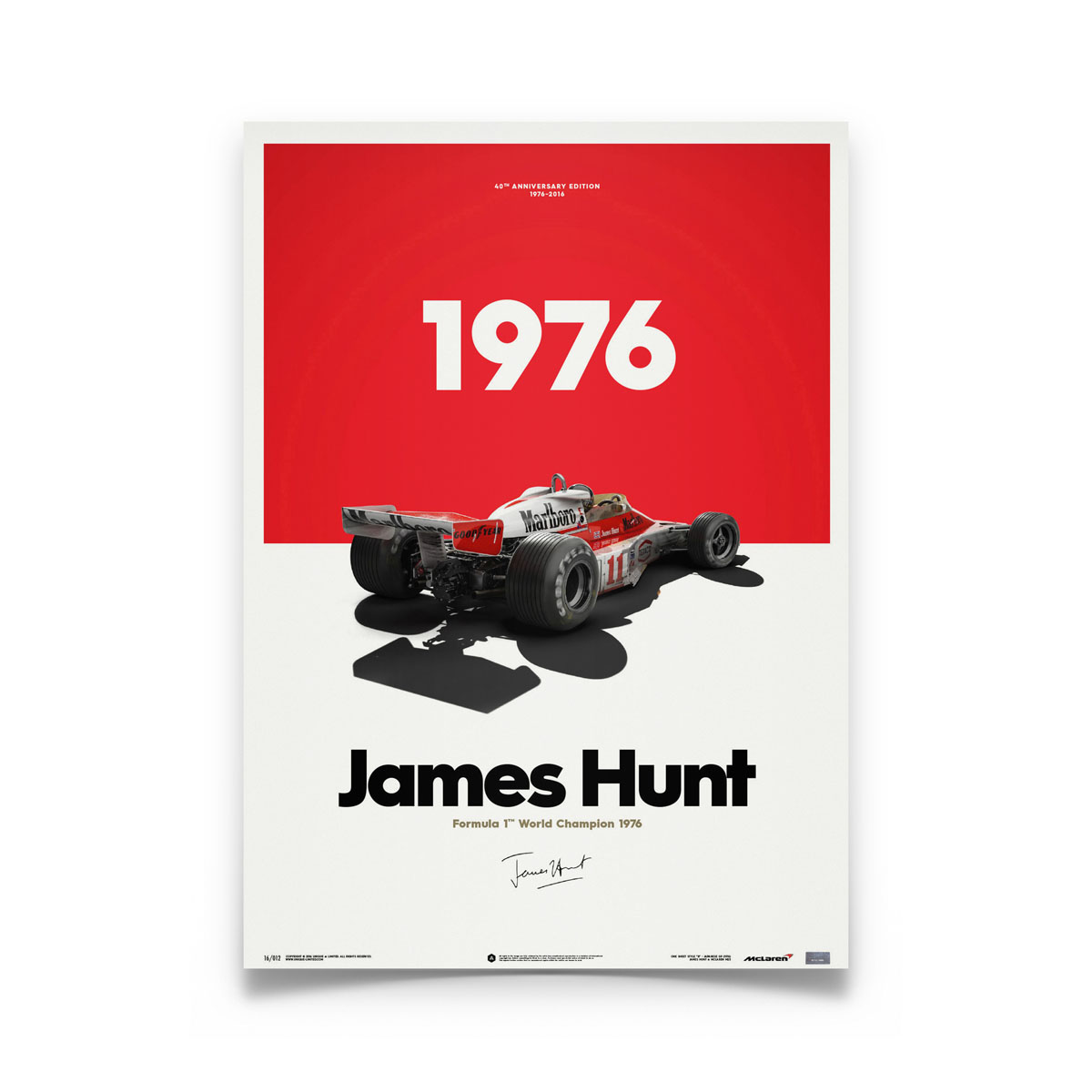 Product image for McLaren M23 James Hunt Marlboro Japanese GP 1976: Limited Poster