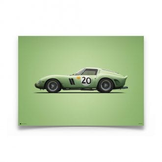 Product image for Ferrari 250 GTO Green 24h Le Mans 1962 Colors of Speed Poster