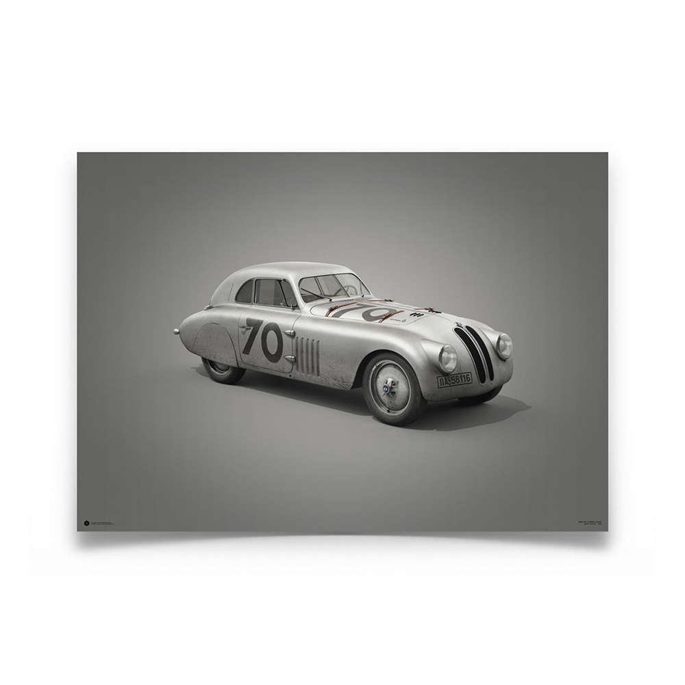 Product image for BMW 328 Silver Mille Miglia 1940 Colors of Speed Poster