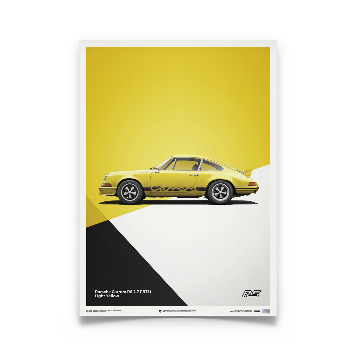 Product image for Porsche 911 RS Yellow: Limited Poster