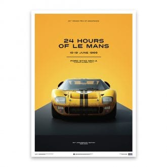 Product image for Ford GT40 Yellow 24h Le Mans 1966: Limited Poster