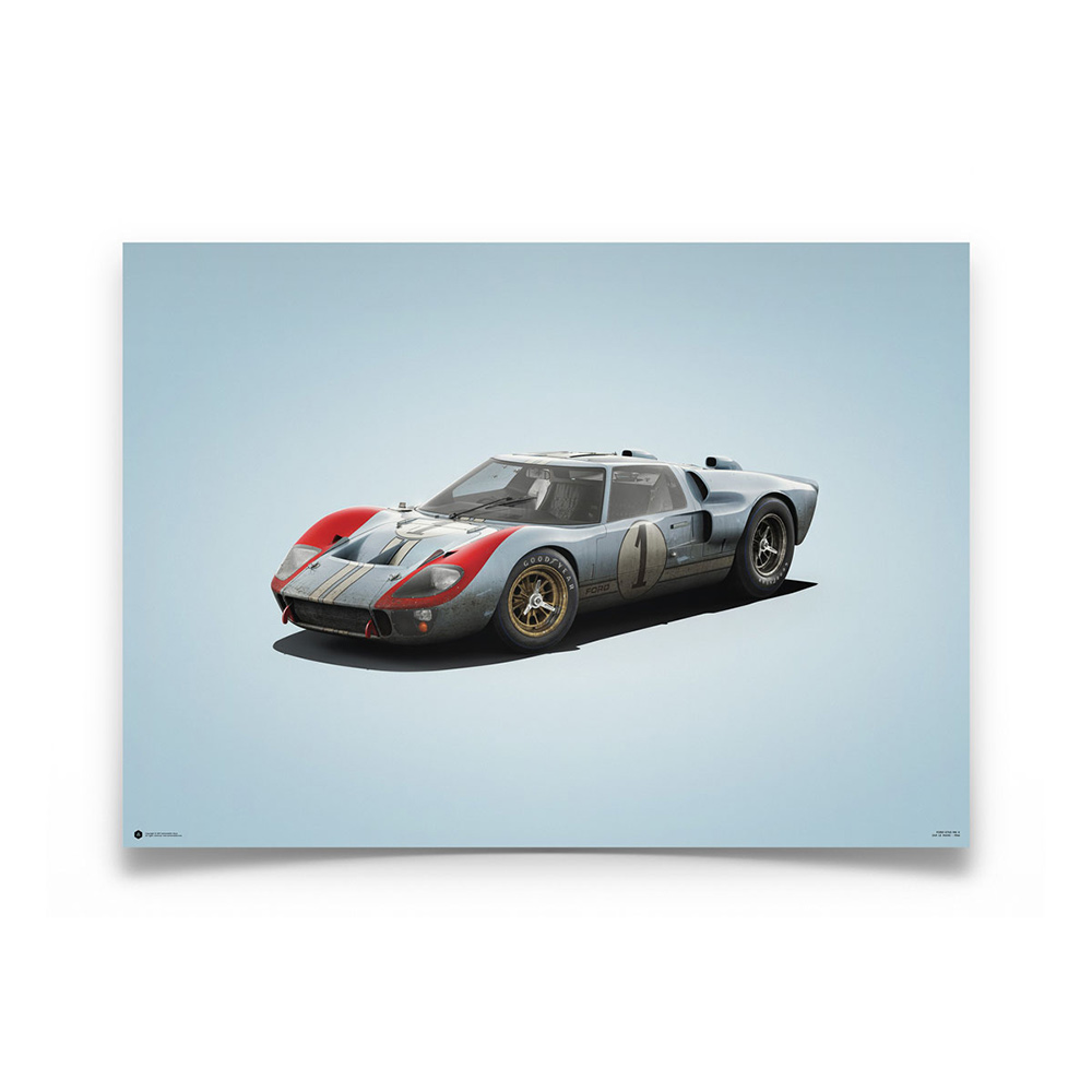 Product image for Ford GT40 Blue 24h Le Mans 1966 Colors of Speed Poster
